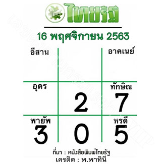หวยไทยรัฐ งวด 16/11/63