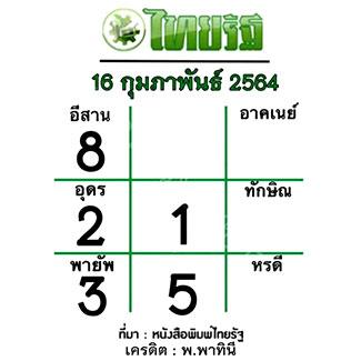 แนวทางหวยไทยรัฐ งวด 16/2/64