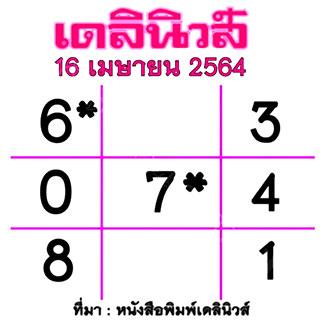 แนวทางหวยเดลินิวส์ งวด 16/4/64